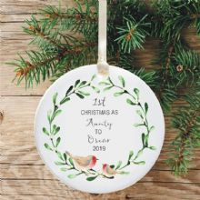 1st Christmas as an Aunty Ceramic Keepsake Decoration - Robins and Mistletoe Design